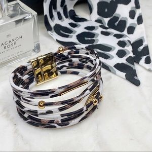 2pc Leopard Print Bracelet + Twilly Scarf Set